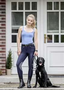 "Jugend-Reithose ""Lucia"", Jeans Look mit Kniebesatz"